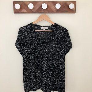 LOFY Black and White Polka Dot Blouse Sz XL